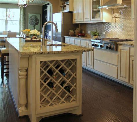 built  lattice wine rack  kitchen island  bone white