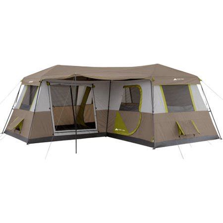 ozark trail 12 person instant cabin tent with screen room ozark trail 12 person 3 room l shaped instant cabin tent