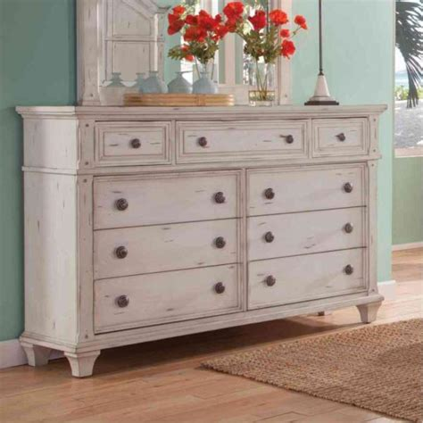 22 Inch Dresser by American Woodcrafters Sedona 9 Drawer Antique Cobblestone