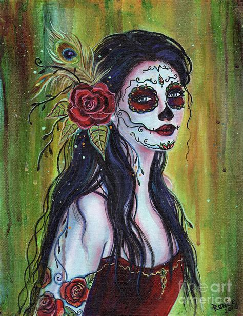 wall metal sculpture lila day of the dead painting by renee lavoie