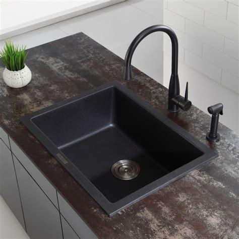 kraus kgdb   dual mount single bowl granite