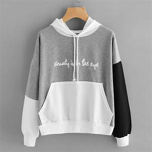 Fashion Girls Letters Long Sleeve Hoodie Sweatshirt Hooded ...