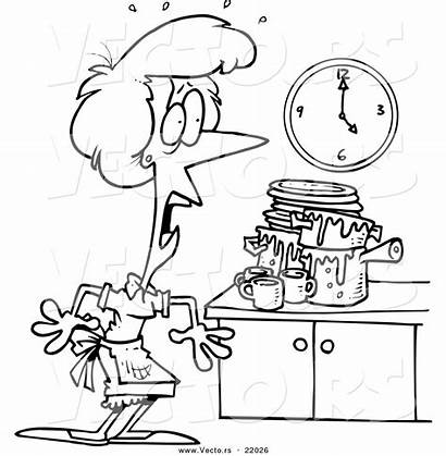 Kitchen Cartoon Messy Clipart Coloring Clip Clean