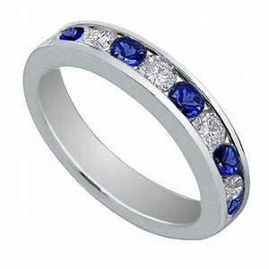 100 Ct Round Cut Diamond And Blue Sapphire Wedding Band Ring