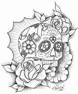 Coloring Skull Sugar Mexican Dead Pdf sketch template