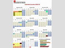 Calendario escolar para el curso 20182019 en los centros