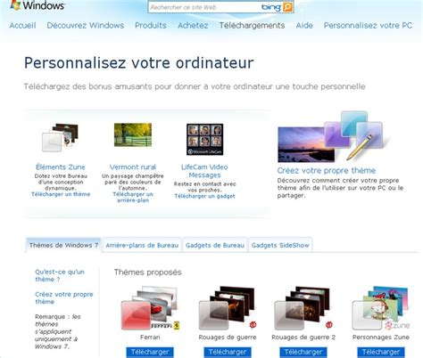 personnaliser bureau windows 7 télécharger de nouveaux thèmes pour windows 7 autour du web
