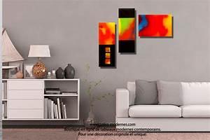 Tableau Coloré Moderne : tableau nouveau art d co color triptyque panoramique rouge jaune bleu ~ Teatrodelosmanantiales.com Idées de Décoration