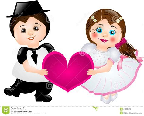 Cartoon Bride And Groom Stock Illustration. Image Of