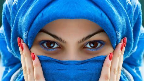 full hd wallpaper blue mascara brown eyes chador desktop