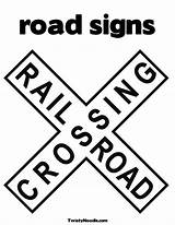 Coloring Signs Road Sign Crossing Railroad Printable Pages Stop Questions Street Permit Traffic Text Listen Clipart Print Train Rail Twistynoodle sketch template