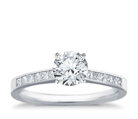 channel set princess cut diamond engagement ring
