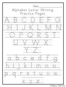 alphabet letter writing practice pages  rebecca tueffel