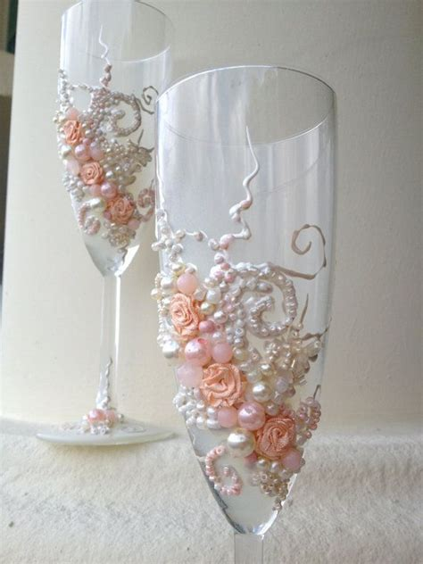 Beautiful Wedding Champagne Glasses In Blush Pink And
