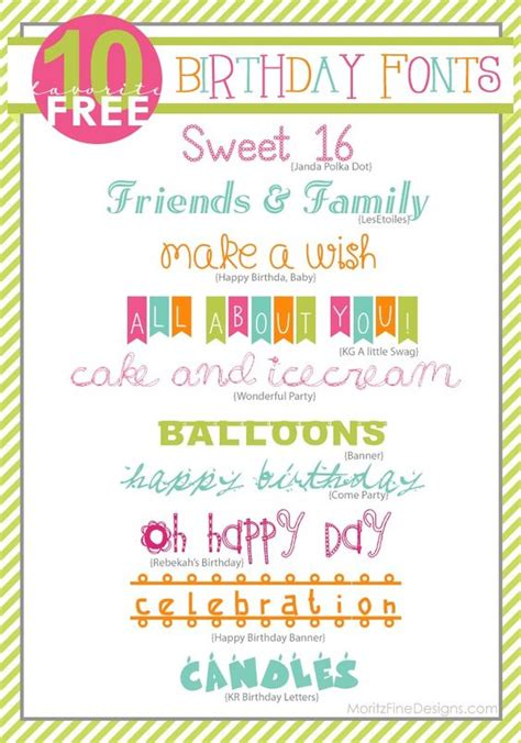 Use as is or easily change fonts or colors. Awesome FREE Birthday Fonts! Easy to download and use on birthday invitations, party favors ...