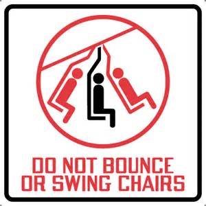White Vinyl Chairs by Non Ansi Lift Sign Do Not Bounce Or Swing Chairs