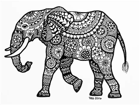 zentangle animals elephant
