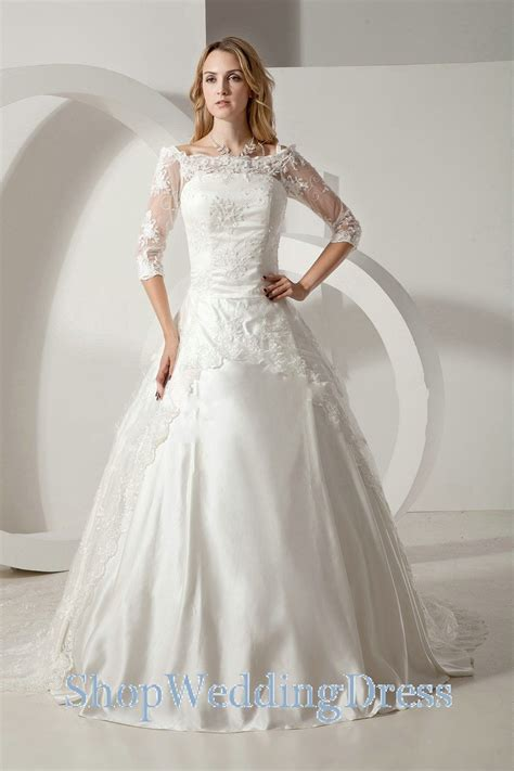 Long Sleeves Lace Sequins Off Shoulder Wedding Dress Gowns