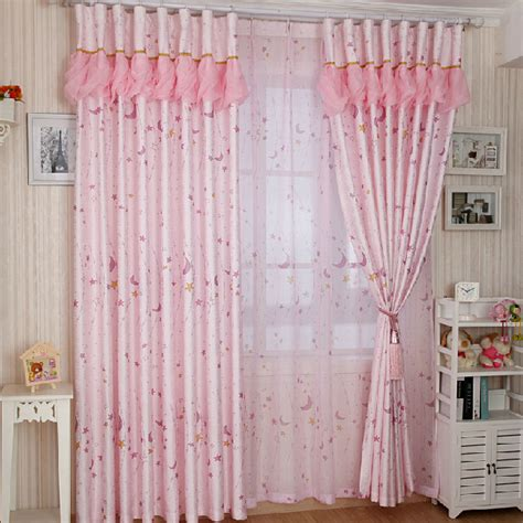 dreamy pink polyester blackout girls moon  star curtains