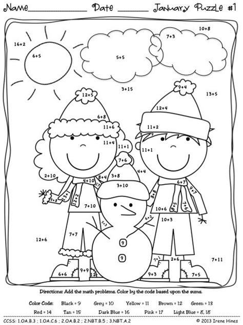 winter math january math printables color by the
