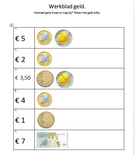 Werkbladen Voor Groep 3 by Werkblad Rekenen Met Geld Groep 3 Rekenen Eigen