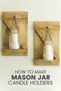 How To Make Hanging Mason Jar Candle Holders • Grillo Designs