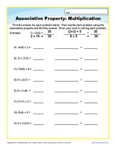 multiplication associative property worksheets for 3rd grade