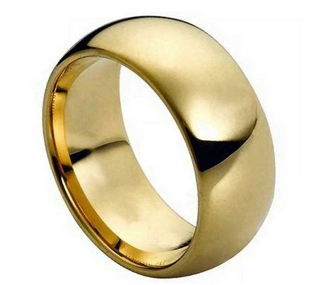 tungsten carbide mens wedding band mm ring domed gold