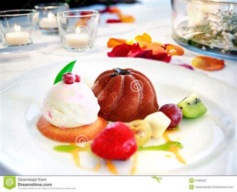 restaurant de dessert dessert plate on restaurant table ready chocolate fruit and biscuits