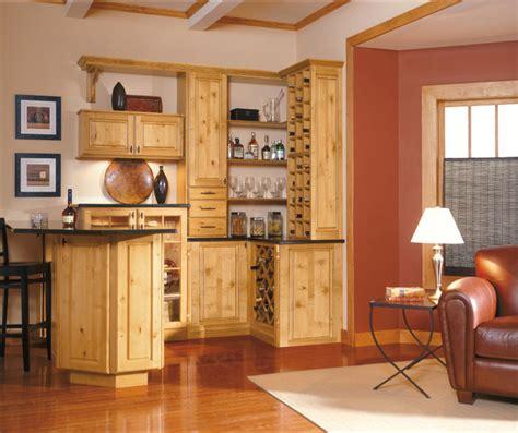 rustic alder cabinets  bar area diamond cabinets