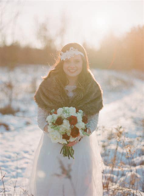 fur stole  wedding gown elizabeth anne designs