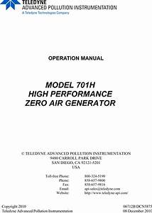 Teledyne Portable Generator 701h Users Manual Api M701h