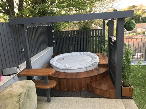 modern pergola  lazy spa hot tub  insulated iroko