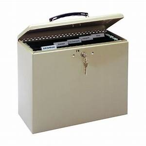 Mmf industries steel security file box with key lock for Secure document storage box