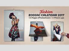 12 Zodiac Signs Fashion Wall Calendar Design Template 2017
