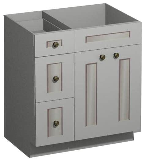 white shaker vanity combo base drawers left  cabnet depot traditional bathroom