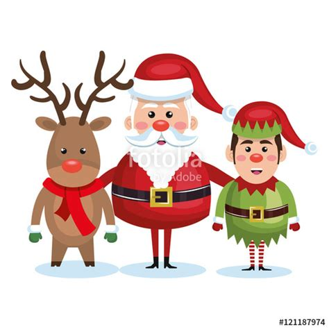 Reideer And Father Christmas Template For Windows by Quot Santa Claus Reindeer And Elf Christmas Vector