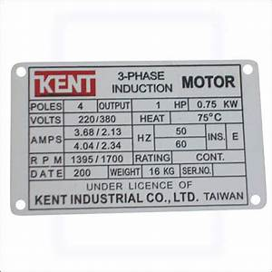 Ash G Aluminium Industrial 3 Phase Motor Name Plate