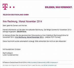 Telekom Rechnung Drucken : gef lschte telekom rechnung mit virus sorgt f r rger ~ Themetempest.com Abrechnung