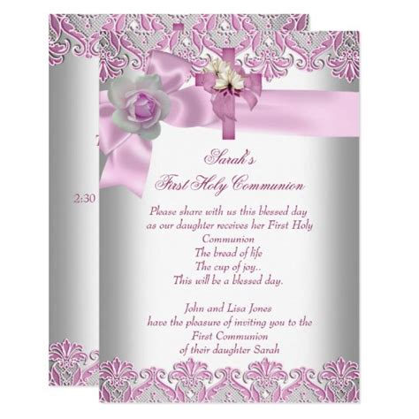 First Holy Communion 1st Cross Girls White Pink Invitation