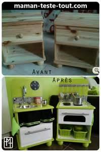 diy fabriquer une cuisine pour enfant avec deux tables de chevet maman teste tout maman