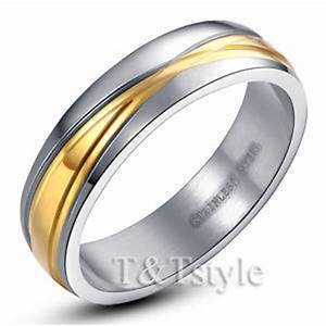 Tt two tone gold stainless steel wedding band ring men for Two tone wedding rings for women