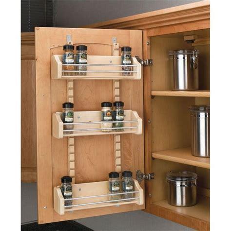 kitchen cabinet door storage racks adjustable door mount spice rack maple wood available 7801
