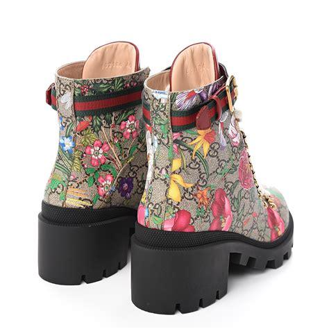 gucci gg supreme monogram flora lace  combat ankle boots   fashionphile