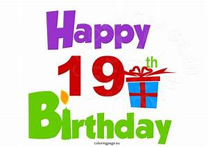 Happy 19th birthday Clipart | Coloring Page