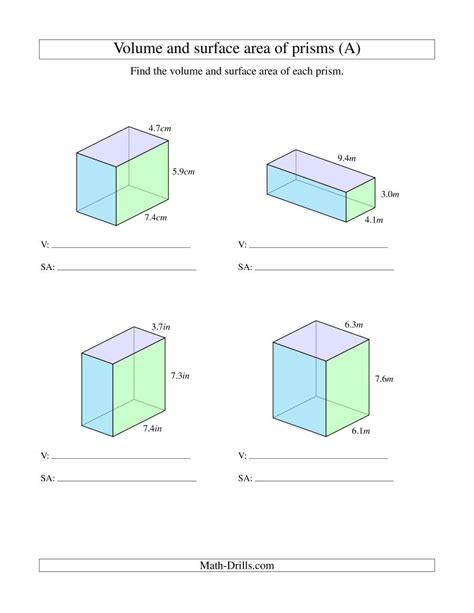 volume  surface area  rectangular prisms  decimal