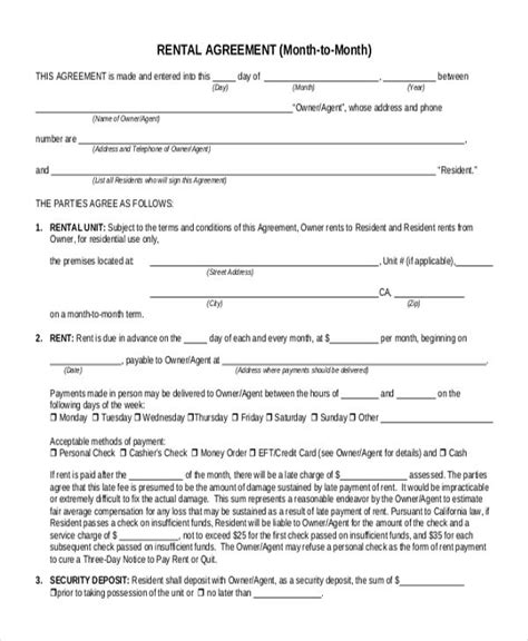 month  month lease agreement   rental agreement