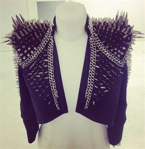 jacket spikes spiked moto jacket spiked leather jacket black jacket wheretoget