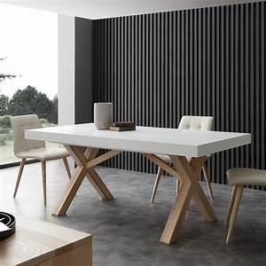 Table Bois Massif Contemporaine : table extensible de salle manger blanche en bois massif rico ~ Teatrodelosmanantiales.com Idées de Décoration