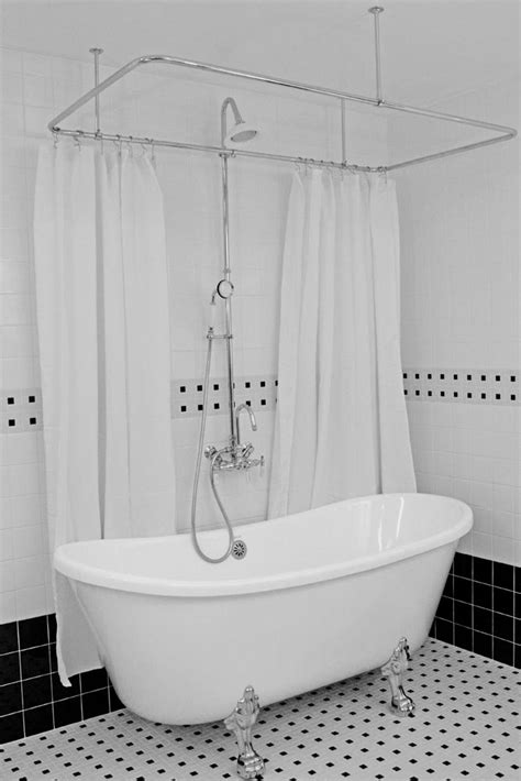 shower to tub hlbt59shpk 59 quot hotel collection bateau clawfoot tub